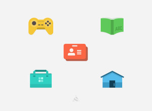 5-Flat-icon-with-PSD
