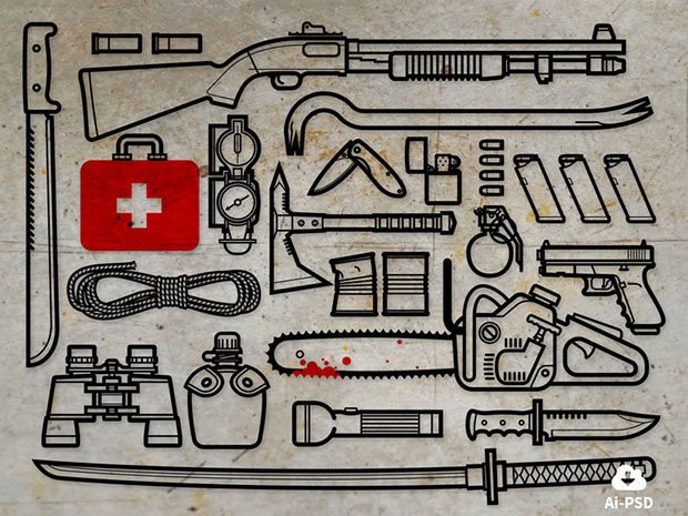 Free-22-Zombie-Survival-Kit-icons
