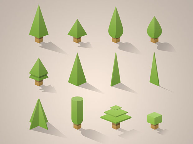 Free-PSD-12-mini-trees-pack