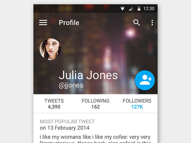 Free-Twitter-Profile-using-Material-Design