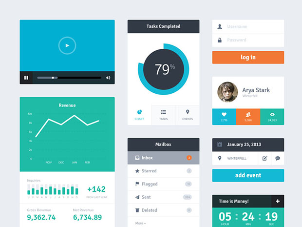 Freebie-PSD-Flat-Widgets-UI-Kit