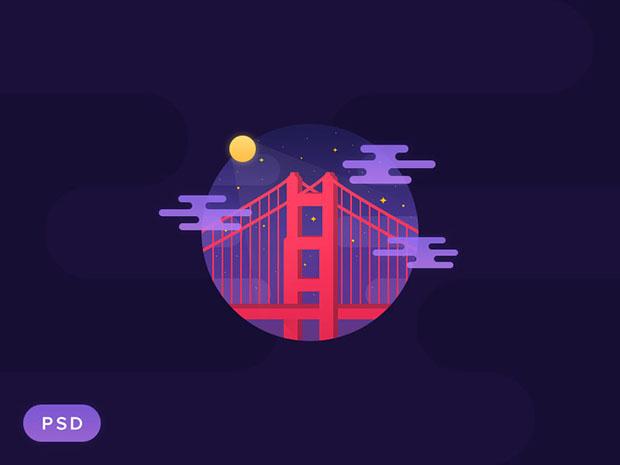 Golden-Gate-Night-PSD