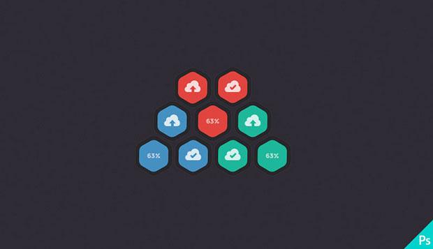 Hexagonal-Upload-Buttons