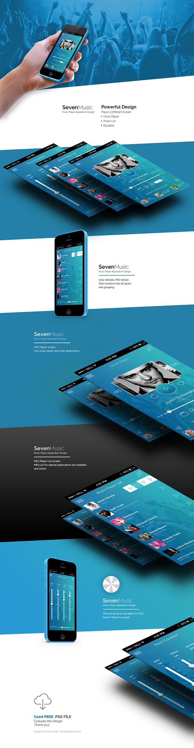 Seven-Music-Music-Player-Application-Design