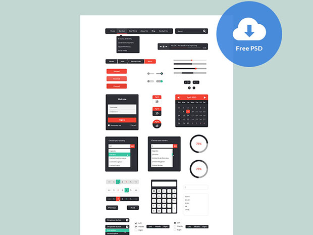Various-Widget-UI-Kit-PSD-Freebie