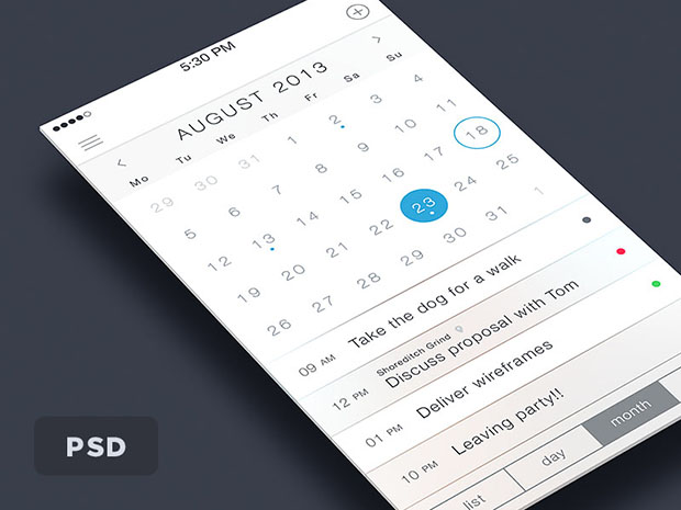iOS7-Calendar-App-PSD