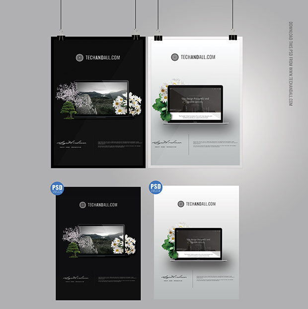 A4-Poster-MockUp-&-Frame-MockUp-PSD